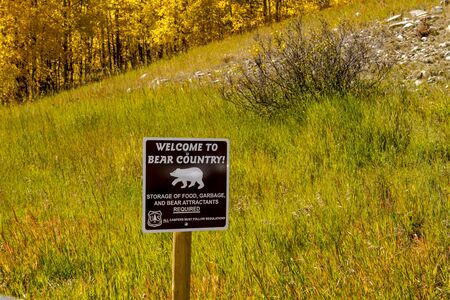rocky mountains colorado: Bear Country warning sign in the Rocky Mountains of Colorado on sunny fall afternoon