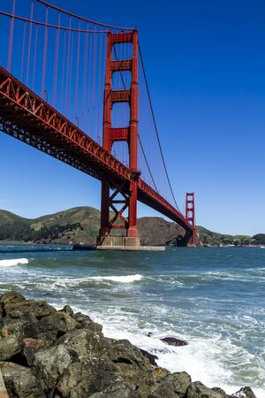 national historic site: Golden Gate Bridge in San Francisco California from Fort Point National Historic Site on sunny morning