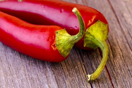 red jalapeno: Close up of single red jalapeno pepper Stock Photo