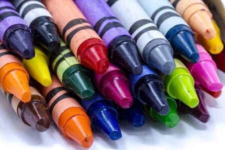 grease paint: Close up of the inside of a box of colorful crayons Stock Photo