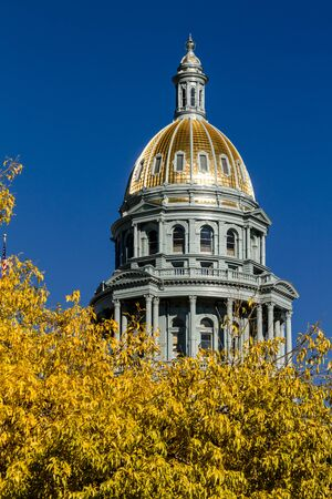 sunshine state: Close up of Colorado USA State Capitol Building dome in Denver, CO on sunny autumn morning with changing tree around building Stock Photo