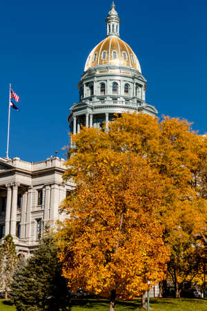 capital of colorado: Colorado USA State Capitol Building in Denver, CO on sunny autumn morning with changing tree around building Stock Photo