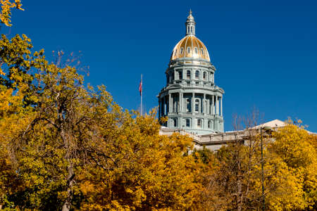 capital of colorado: Close up of Colorado USA State Capitol Building dome in Denver, CO on sunny autumn morning with changing tree around building Stock Photo