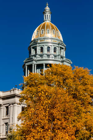 denver co: Close up of Colorado USA State Capitol Building dome in Denver, CO on sunny autumn morning with changing tree around building Stock Photo