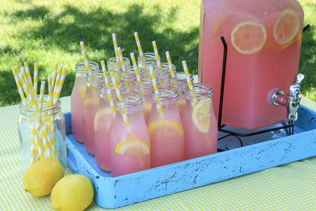 party tray: Close up of picnic party in the park drink table with large pitcher and glass bottles filled with ice cold pink lemonade and fresh lemons, with yellow swirled straws sitting in bright blue drink tray on yellow gingham tablecloth Stock Photo