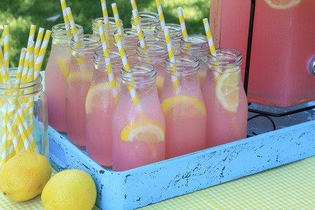 Close up of picnic party in the park drink table with large pitcher and glass bottles filled with ice cold pink lemonade and fresh lemons with yellow swirled straws sitting in bright blue drink tray on yellow gingham tablecloth Stock Photo