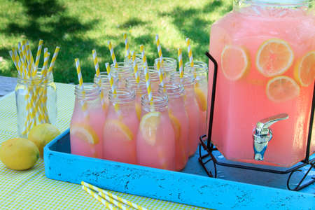 Close up of picnic party in the park drink table with large pitcher and glass bottles filled with ice cold pink lemonade and fresh lemons, with yellow swirled straws and sign sitting on yellow gingham tablecloth