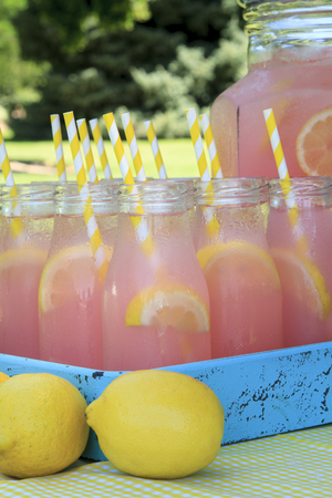 Close up of picnic party in the park drink table with large pitcher and glass bottles filled with ice cold pink lemonade and fresh lemons, with yellow swirled straws sitting in bright blue drink tray on yellow gingham tablecloth Stock Photo