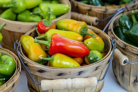bushel: Bushel baskets filled with home grown hot pepper varieties sitting on table for sale at farmers market