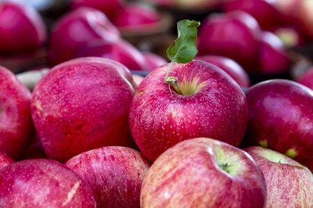 Primer plano de las manzanas rojas frescas recogidas a la venta en el mercado local de los granjeros