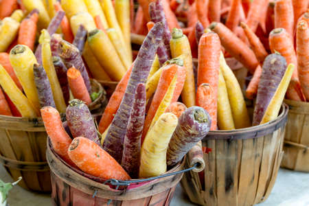 bushel: Brown bushel basket at local farmers market filled with rainbow carrots