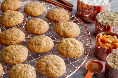 Homemade pumpkin spice cookies sitting on copper wire cooling rack surrounded by ingredients in copper measuring cups and spoon