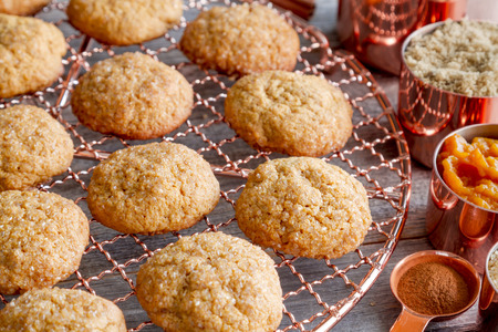 Close up of homemade pumpkin spice cookies sitting on copper wire cooling rack surrounded by ingredients in copper measuring cups and spoon