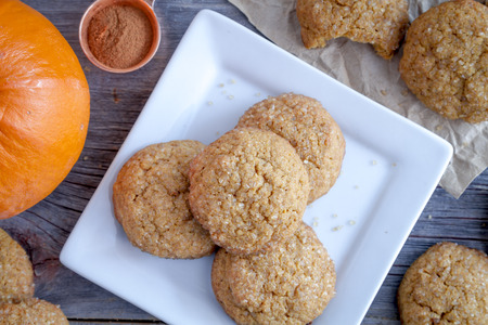fresh baked: Close up of fresh baked pumpkin spice cookies sitting on white square plate with fresh pumpkins on side and copper measuring spoon filled with cinnamon