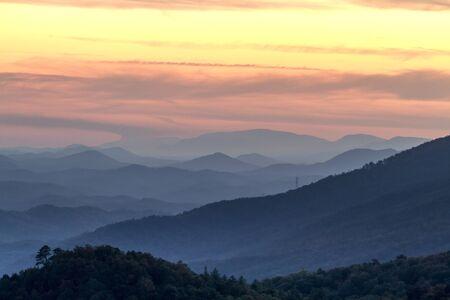 carolina: Mountain layers and haze at sunset at Look Rock in Great Smoky Mountains National Park Stock Photo