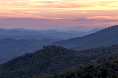 Sunset at overlook along Foothills Parkway West in Great Smoky Mountains National Park