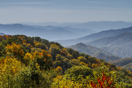 great smokies: Hazy mountain layers in distance with colorful mountainsides of fall foliage at Great Smoky Mountain National Park