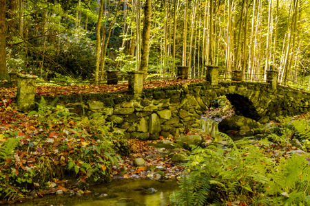 great smokies: The Troll Bridge in the Elkmount Historic District in Great Smoky Mountains National park Stock Photo