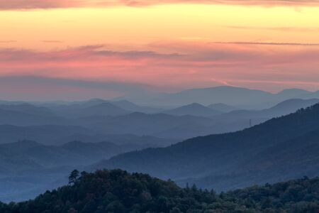 great smokies: Mountain layers and haze at sunset at Look Rock in Great Smoky Mountains National Park Stock Photo