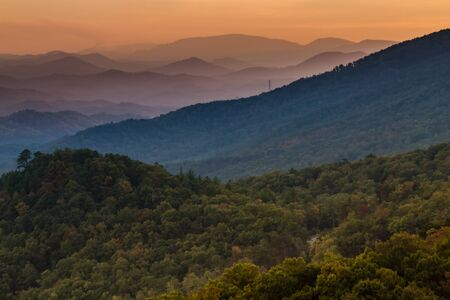 carolina: Mountain layers at sunset at Look Rock in Great Smoky Mountains National Park