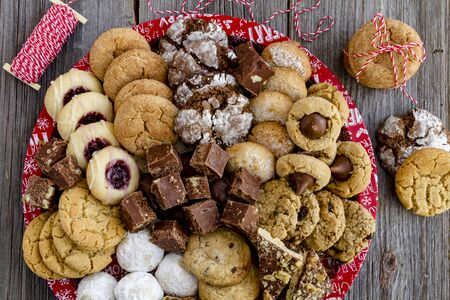 twine: Holiday cookie tray with bakers twine ready for gift wrapping Stock Photo