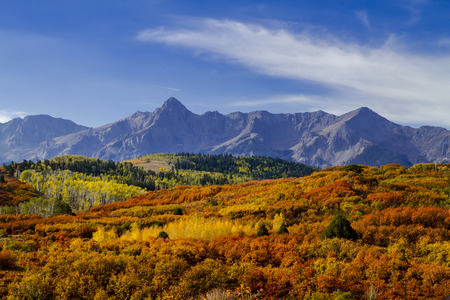 Colorful fall mountain valley along Dallas Divide in the San Mountains near Ridgway Colorado