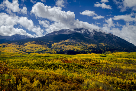 Valley along Kebler Pass Road in West Elk Mountains Colorado during fall color on sunny afternoon