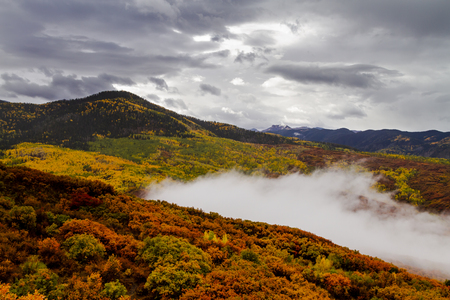 Stormy fall morning in Cimmarron Mountains with mountainside of changing yellow aspen trees and orange scrub oak and low clouds creeping up the valley
