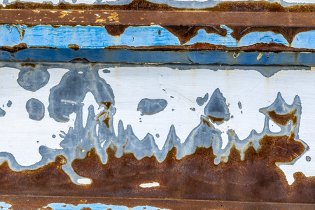 Colorful background of weathered and rusted metal wall with blues and browns