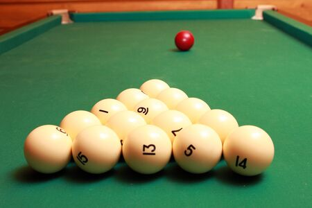 snooker tables: White balls are on the snooker table Stock Photo