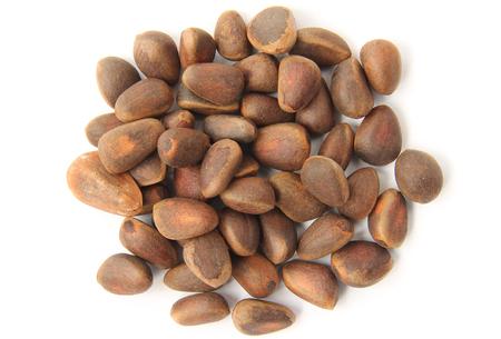pine nuts: Pinoli in guscio su uno sfondo bianco