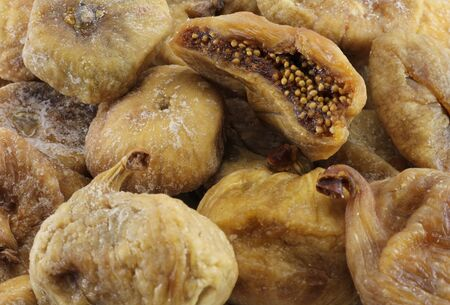 pectin: Abstract view of the dried figs top view Stock Photo