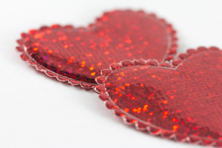 feel feeling: Valentines Day - two hearts on a white background Stock Photo