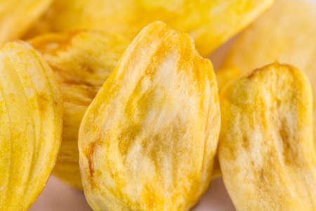 jack fruit: Dried slices Jack fruit on a white background