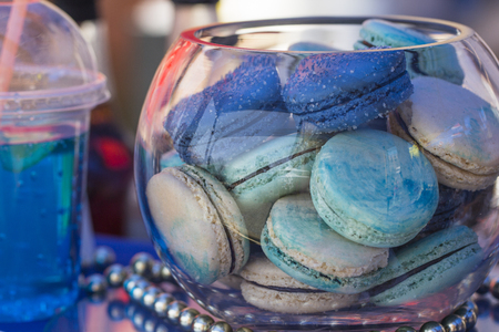 View of the macaroons in a glass vase  Banco de Imagens