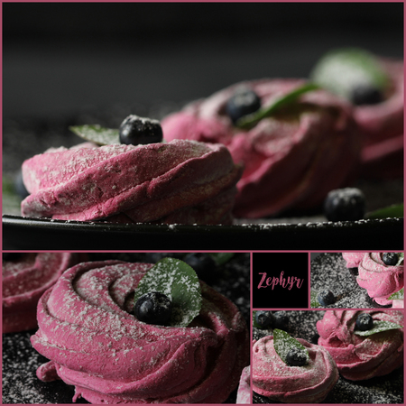 Collage Square - Pink homemade zephyr or marshmallow,  meringue in a plate on a black background
