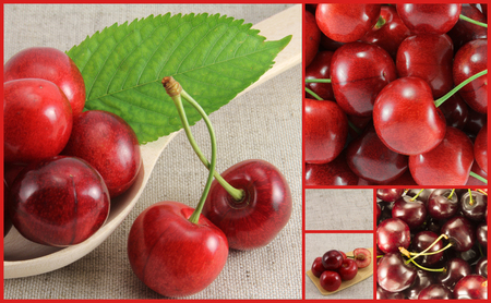 Collage of red cherry-rectangle. Golden Section.