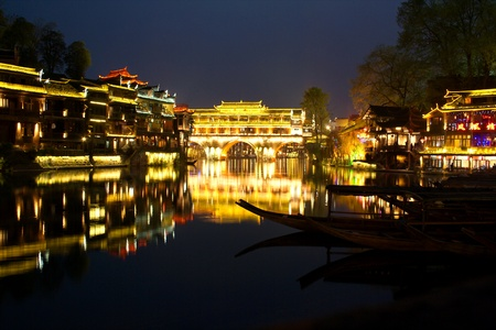 hunan: Midnight in the town Fenghuang  The province of Hunan  China is