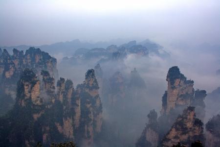 Misty bergen van Zhangjiajie, provincie Hunan, China