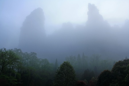 Foggy morning in the mountains of Zhangjiajie, Hunan Province, China Stock Photo - 13565394