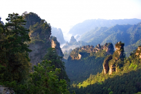 Foggy morning in the mountains of Zhangjiajie, Hunan Province, China Stock Photo