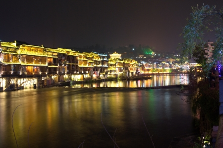 hunan: Night in the town Fenghuang  The province of Hunan  China