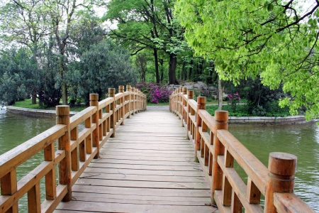 Bridge in chinese park. Changsha city. China is. Stock Photo