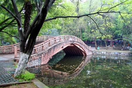 wuhan: Bridge in Central park. Wuhan city. China is.