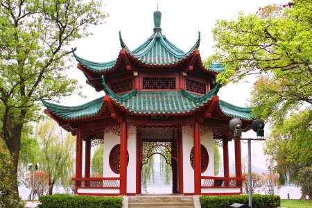 wuhan: Chinese pavilion. East lake park. Wuhan city. China is.