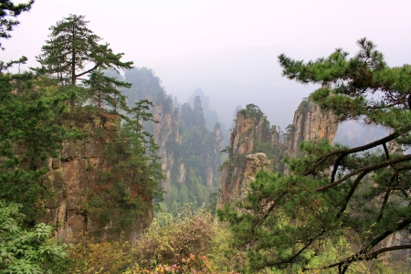 Zhangjiajie ancient mountains. The province of Hunan. China is.