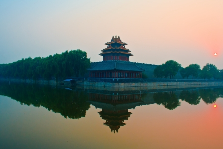 Sunset over the  Forbidden City   Beijing  China