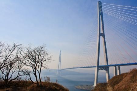 Brug naar Russky eiland. Stad Vladivostok. Rusland. Stockfoto