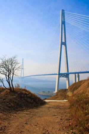 Brug naar Russky eiland. Vladivostok stad. Rusland. Stockfoto