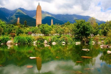 Refection of the Three Pagodas in Dali, Yunnan province, China